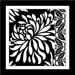 Graphic Chrysanthemums I art print poster with simple frame