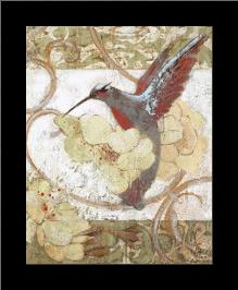 Humming Bird II art print poster with simple frame