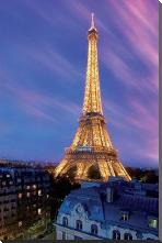 Eiffel Tower At Dusk art print poster with block mounting