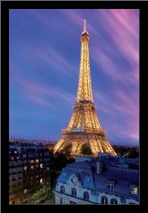 Eiffel Tower At Dusk art print poster with simple frame