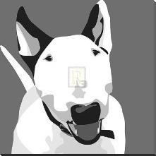Bull Terrier art print poster with block mounting