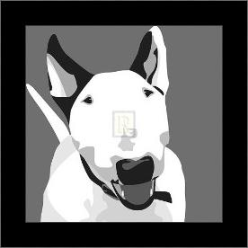 Bull Terrier art print poster with simple frame