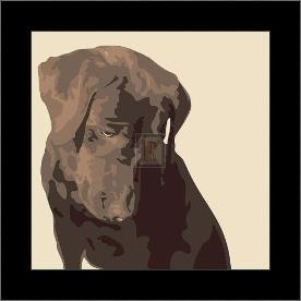 Chocolate Labrador art print poster with simple frame