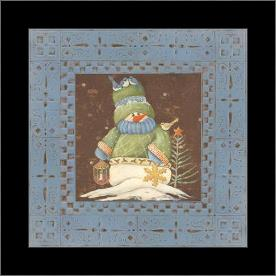 Blue Tin Snowman I art print poster with simple frame