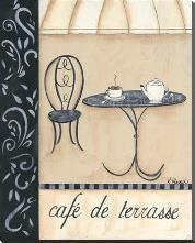 Cafe De Terrasse art print poster with block mounting