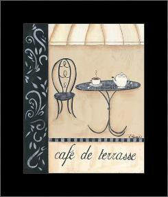 Cafe De Terrasse art print poster with simple frame