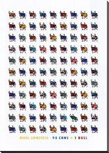 98 Cows and 1 Bull art print poster with block mounting