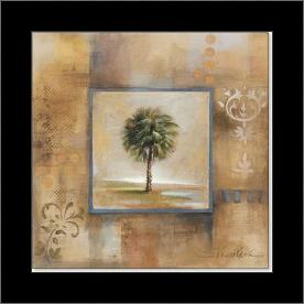 Sunlit Palmetto I 12X12 art print poster with simple frame