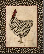 Spotted Chicken art print poster with block mounting