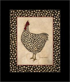 Spotted Chicken art print poster with simple frame