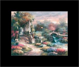 Classic Garden Retreat art print poster with simple frame
