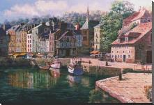 Village Of Honfleur art print poster with block mounting