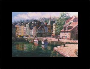Village Of Honfleur art print poster with simple frame