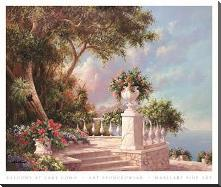 Balcony At Lake Como art print poster with block mounting