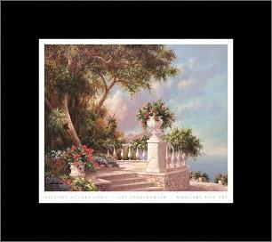 Balcony At Lake Como art print poster with simple frame