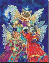Felines Heralding Christmas Joy art print poster with block mounting