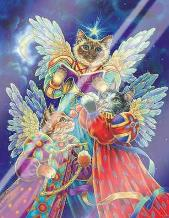 Felines Heralding Christmas Joy art print poster with laminate