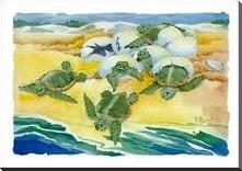 Turtle Nestings art print poster with block mounting