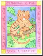 Climbing Tiger art print poster with block mounting
