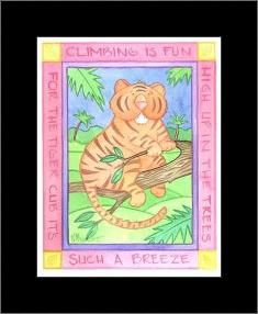 Climbing Tiger art print poster with simple frame