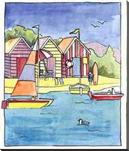 Boat Beach Scene I art print poster with block mounting