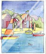 Boat Beach Scene I art print poster with laminate