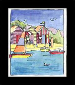 Boat Beach Scene I art print poster with simple frame