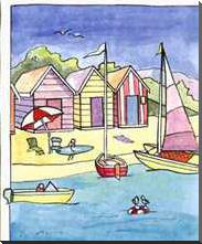 Boat Beach Scene II art print poster with block mounting
