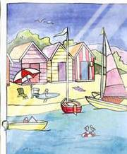 Boat Beach Scene II art print poster with laminate