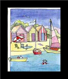 Boat Beach Scene II art print poster with simple frame