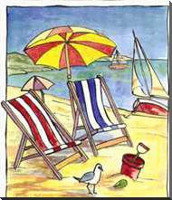 Deck Chair Beach Scene I art print poster with block mounting