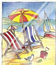 Deck Chair Beach Scene I art print poster with laminate