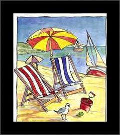 Deck Chair Beach Scene I art print poster with simple frame