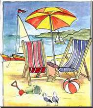 Deck Chair Beach Scene II art print poster with block mounting