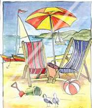 Deck Chair Beach Scene II art print poster with laminate