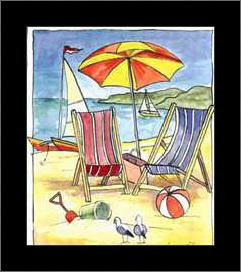 Deck Chair Beach Scene II art print poster with simple frame