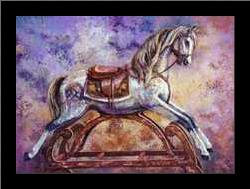 Rocking Horse III art print poster with simple frame