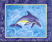 Dolphin II art print poster with block mounting