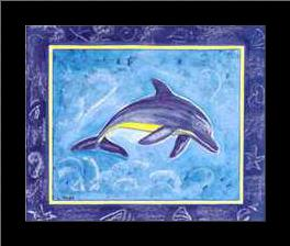 Dolphin II art print poster with simple frame