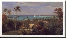 Bahamas Harbour 1882 art print poster with block mounting