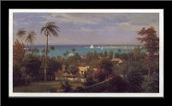 Bahamas Harbour 1882 art print poster with simple frame