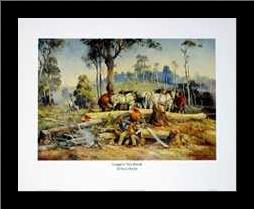 Loggers Tea Break art print poster with simple frame