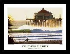 Huntington Pier art print poster with simple frame
