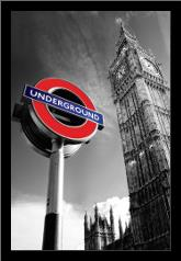London Big Ben art print poster with simple frame