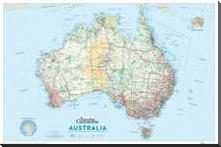 Australia Map art print poster with block mounting