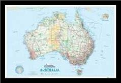 Australia Map art print poster with simple frame