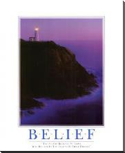 Belief art print poster with block mounting