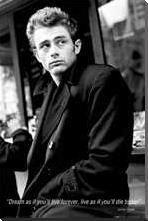 James Dean Dream art print poster with block mounting