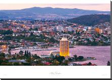 Hobart - Tas art print poster with block mounting