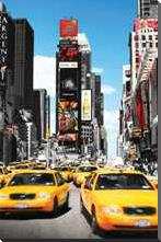 New York Yellow Cabs art print poster with block mounting
